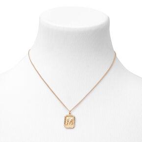 Gold Initial Rectangle Medallion Pendant Necklace - M,