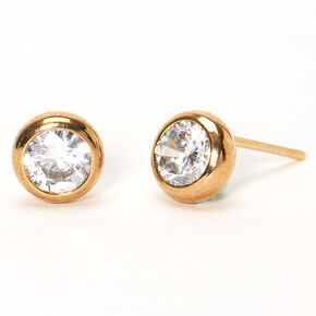 18kt Gold Plated Cubic Zirconia Round Bezel Stud Earrings - 7MM,