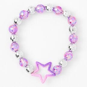 Bracelet élastique boule disco étoile violet,