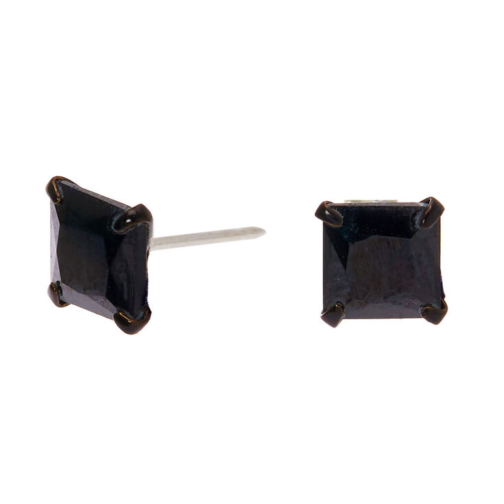 Sterling Silver Cubic Zirconia Square Stud Earrings - Black, 5MM,
