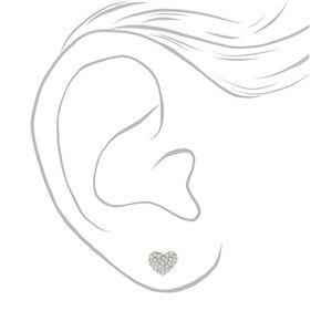 Silver Crystal Heart Stud Earrings,