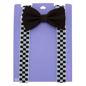 Chequered Suspenders and Bow Set - Black,