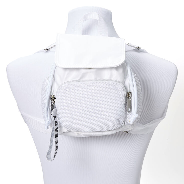 Nylon & Mesh Mini Backpack - White,