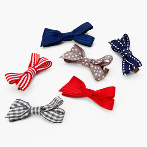 Claire's Club Dots and Stripes Hair Bow Clips - 6 Pack,