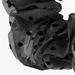 Giant Sheer Polka Dot Hair Scrunchie - Black,