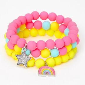 Claire's Club Rainbow Beaded Stretch Bracelets - Matte, 3 Pack,