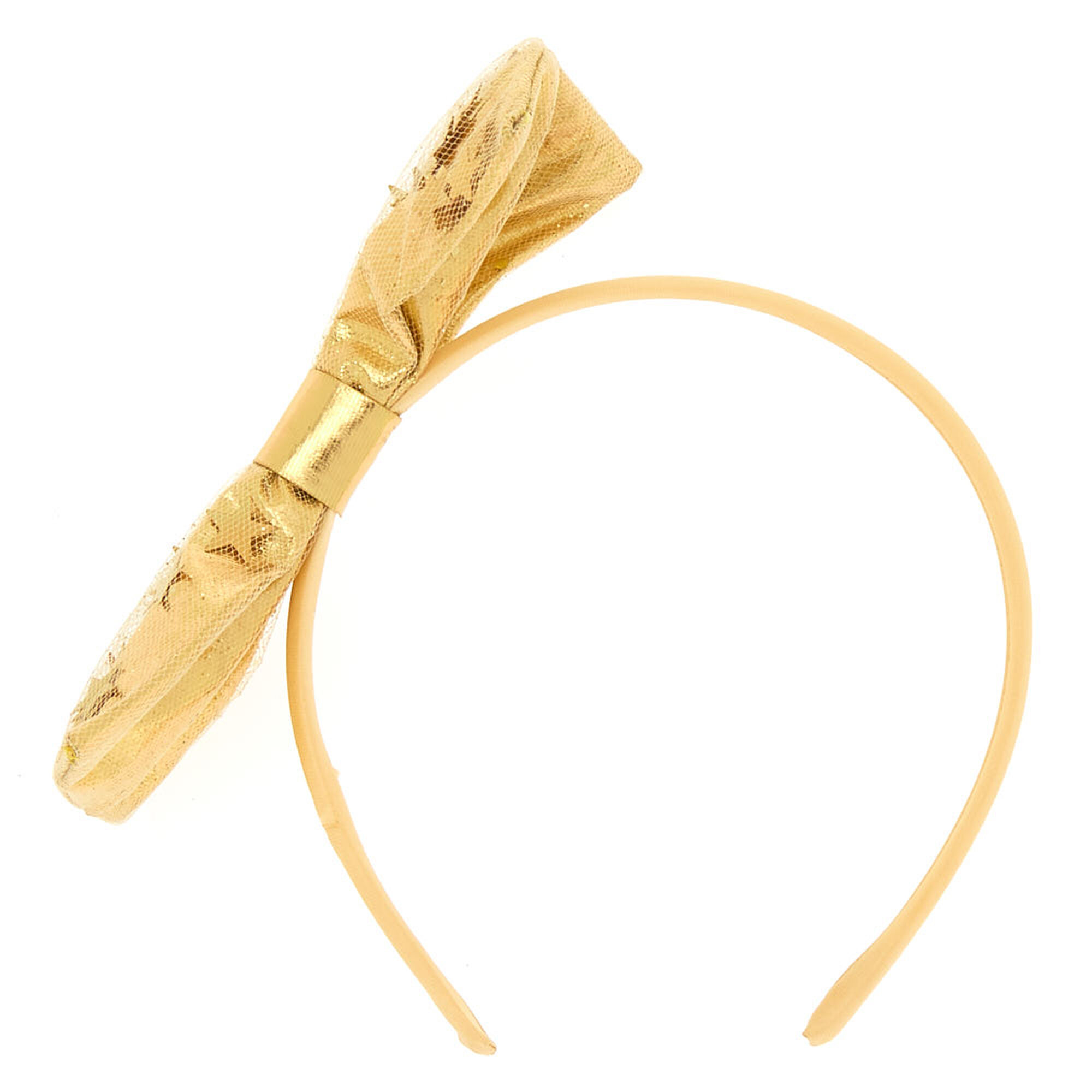 Star Shaker Bow Headband Gold Claire S Us