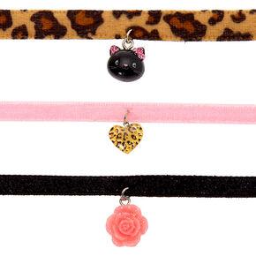 Claire's Club Leopard Choker Necklaces - 3 Pack,