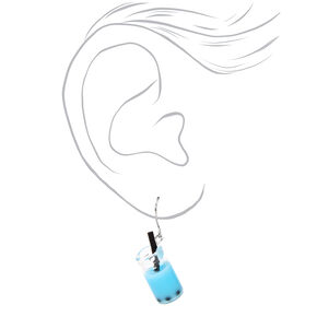 Silver Bubble Tea Drop Earrings - Blue,