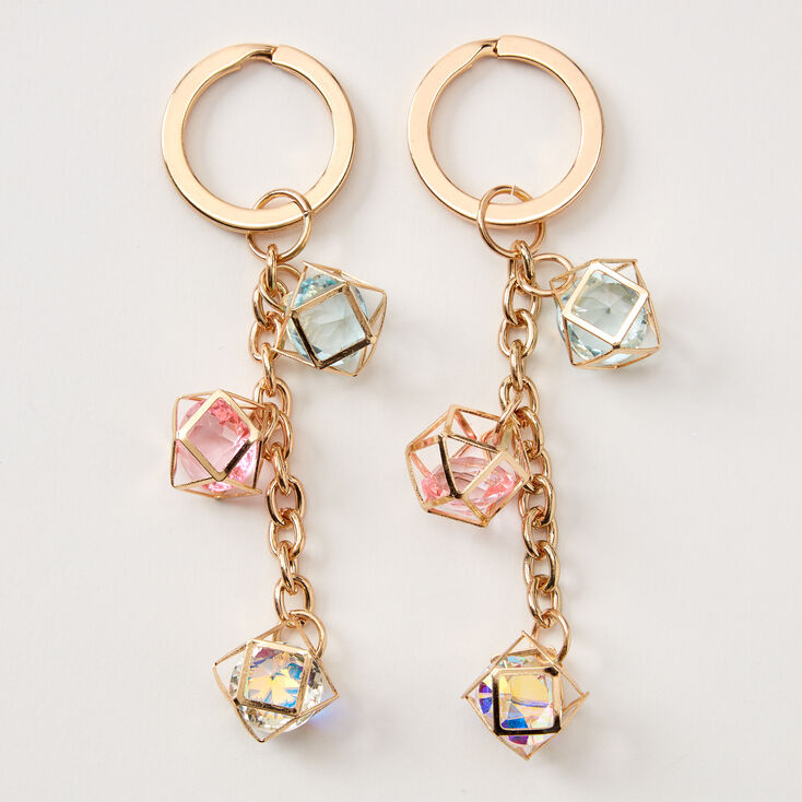 Geometric Crystal Best Friends Keychains - 2 Pack,