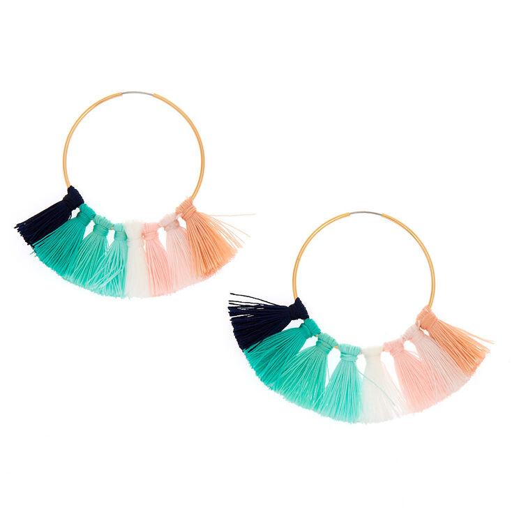 Gold 40MM Tassel Hoop Earrings - Green,