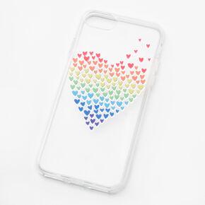 Coque de portable transparente cœurs arc-en-ciel - Compatible avec iPhone 6/7/8/SE,
