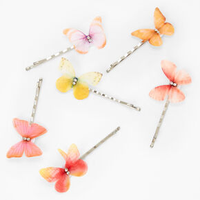 Crystal Accent Butterfly Hair Pins - Orange, 6 Pack,