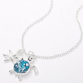 Collier à pendentif tortue à paillettes couleur argentée - Turquoise,