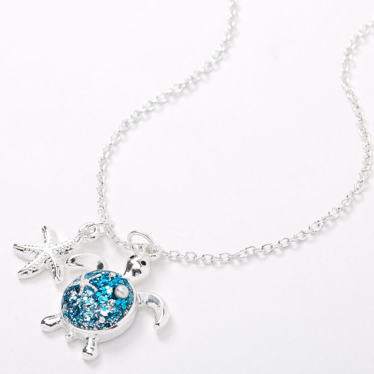 Silver Glitter Turtle Pendant Necklace - Turquoise,