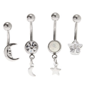 Silver Cubic Zirconia 14G Celestial Belly Rings - 4 Pack,