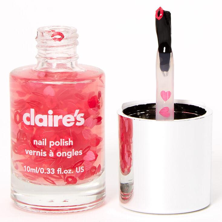 Glitter Hearts Nail Polish Topper - Pink,
