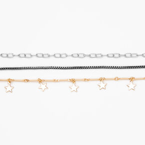 Mixed Metal Star Chain Choker Necklaces - 3 Pack,