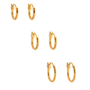 18kt Gold Plated Hinged Hoop Earrings - 3 Pack,