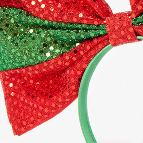 Large Sequin Holiday Bow Headband,