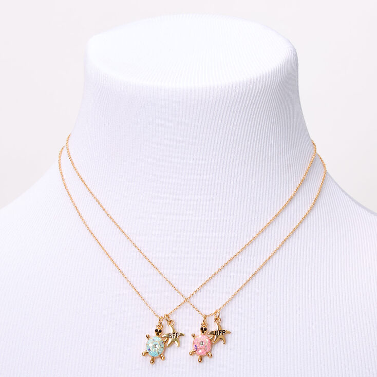 Gold Best Friends Starfish Turtle Pendant Necklaces - 2 Pack,