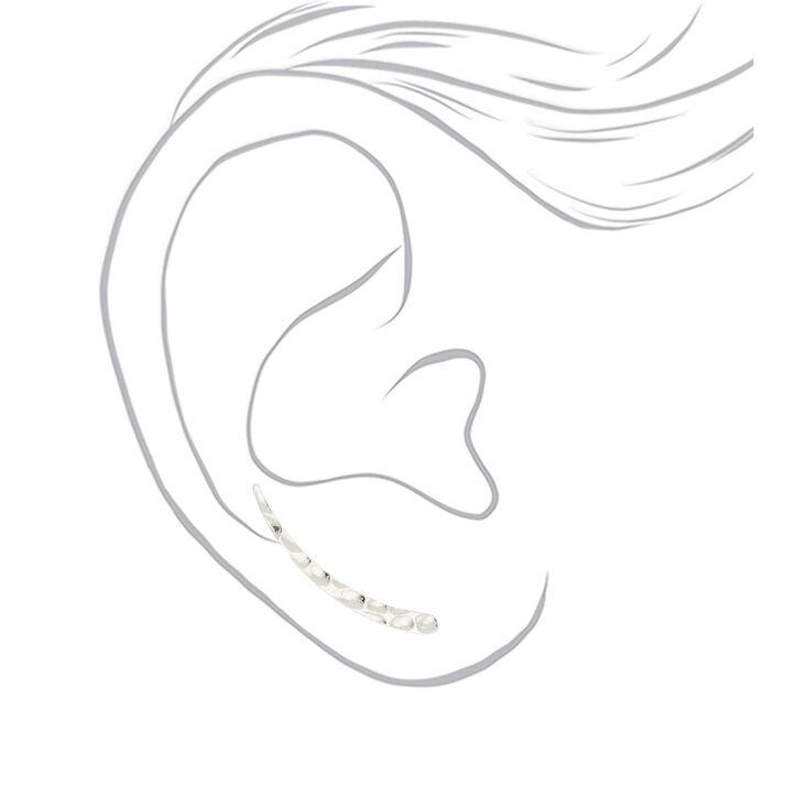 "Silver 1"" Textured Ear Crawler Earrings,"