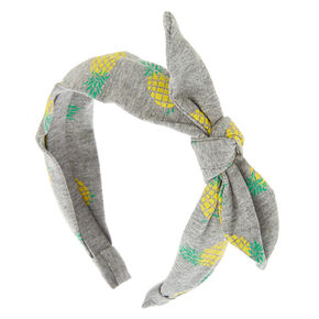 Pineapple Knotted Bow Headband - Gray,