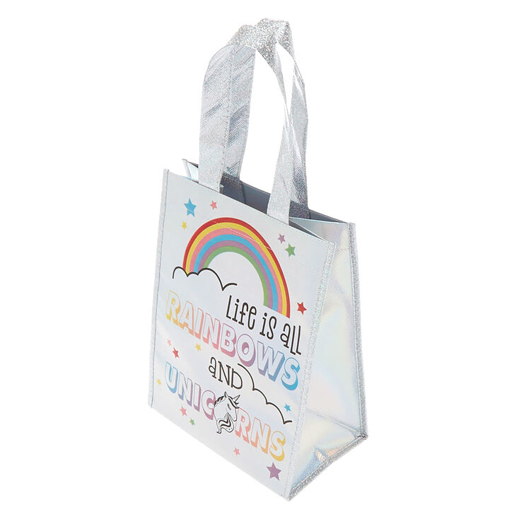 Life is All Rainbows and Unicorns Reusable Tote - Silver,
