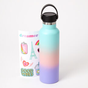 Pastel Ombre Sticker Water Bottle,