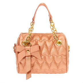 Quilted Hearts Satchel Crossbody Bag - Rose Gold,