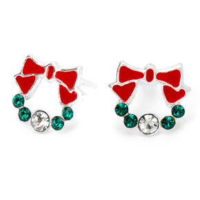 Sterling Silver Christmas Wreath Stud Earrings,