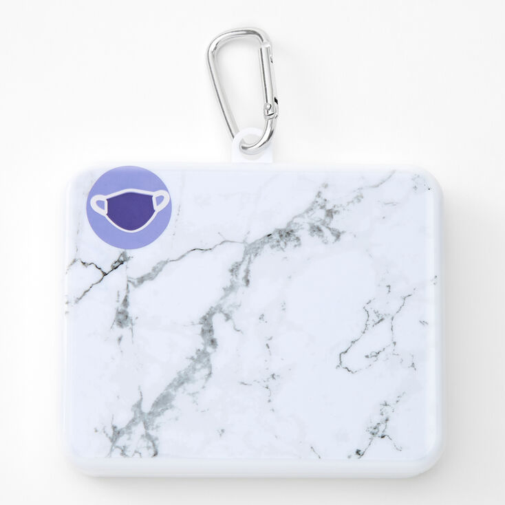 Marble Face Mask Case - White,
