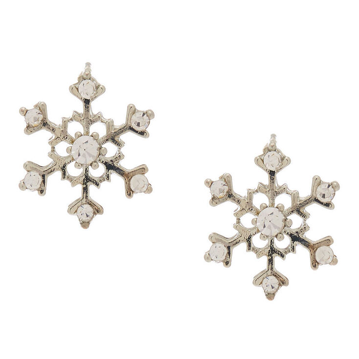 Silver Bling Snowflake Stud Earrings