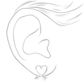 Heart Arrow Stud Earrings - Silver,