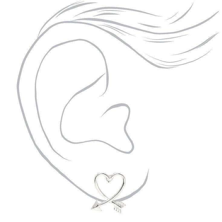 Heart Arrow Stud Earrings - Silver,