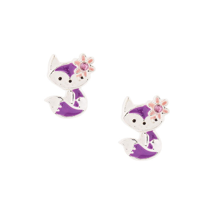 Kids Purple Fox Stud Earrings