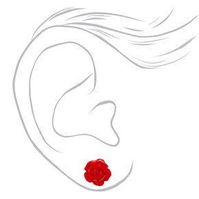 Sterling Silver Carved Rose Stud Earrings - Red,