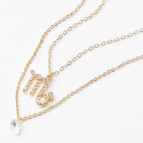 Gold Cubic Zirconia Zodiac Multi Strand Necklace - Scorpio,