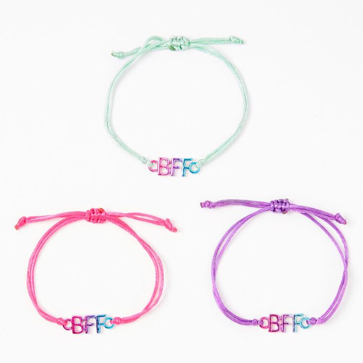 Pink, Purple & Mint Anodized Adjustable Friendship Bracelets - 3 Pack,