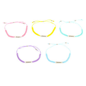 Pastel Adjustable Sisters Bracelets - 5 Pack,