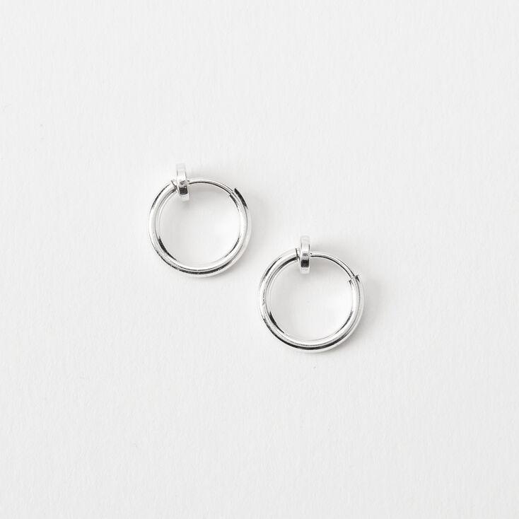 Silver 10MM Clip On Hoop Earrings,