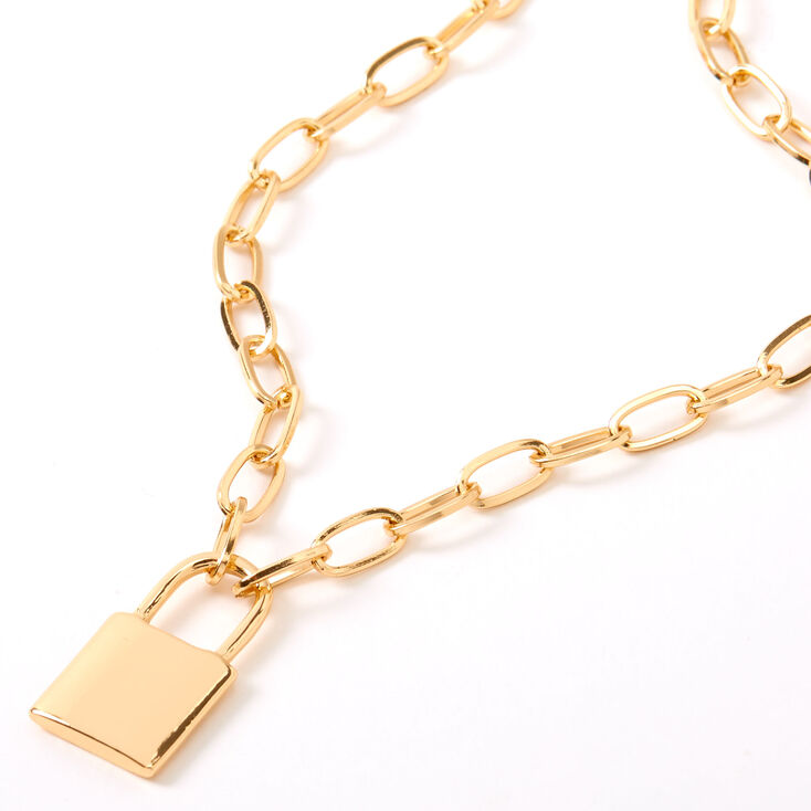Gold Lock Pendant Chain Necklace,