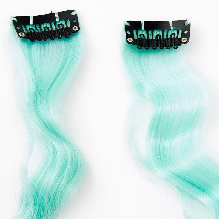 Extensions de cheveux synthétiques bouclés à clip - Vert menthe, lot de 2,