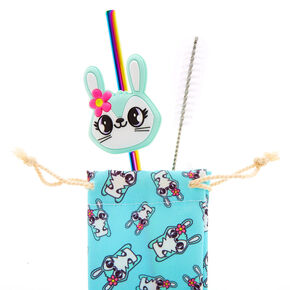 Jade the Bunny Anodized Stainless Steel Straw & Pouch Set,