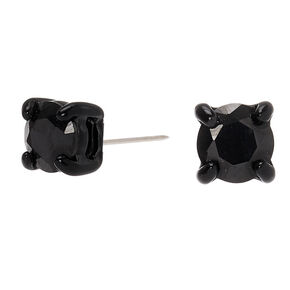 Black Cubic Zirconia Round Stud Earrings - 5MM,