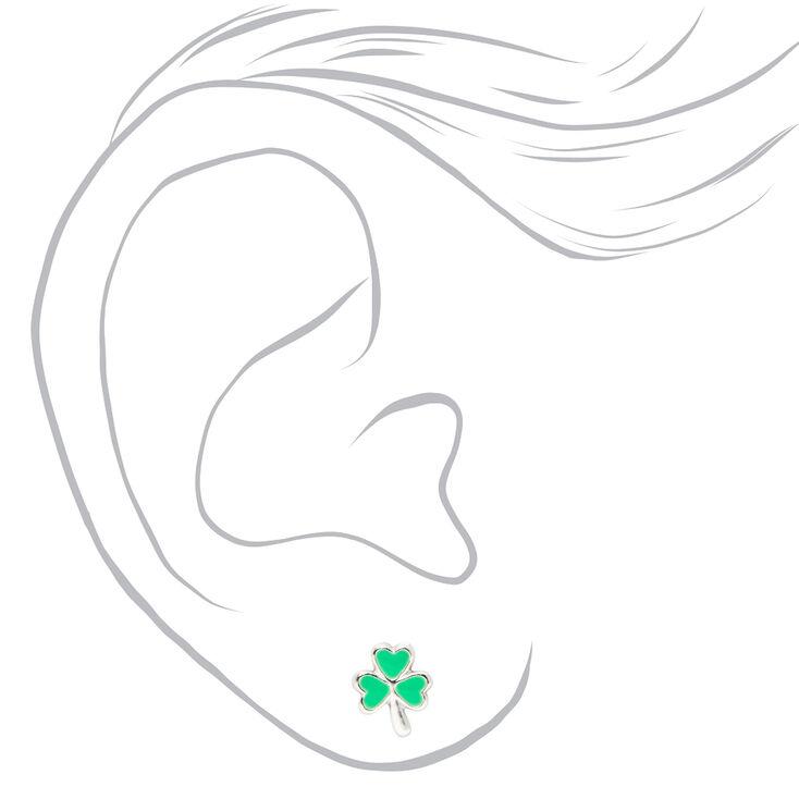 Sterling Silver Shamrock Stud Earrings - Green,