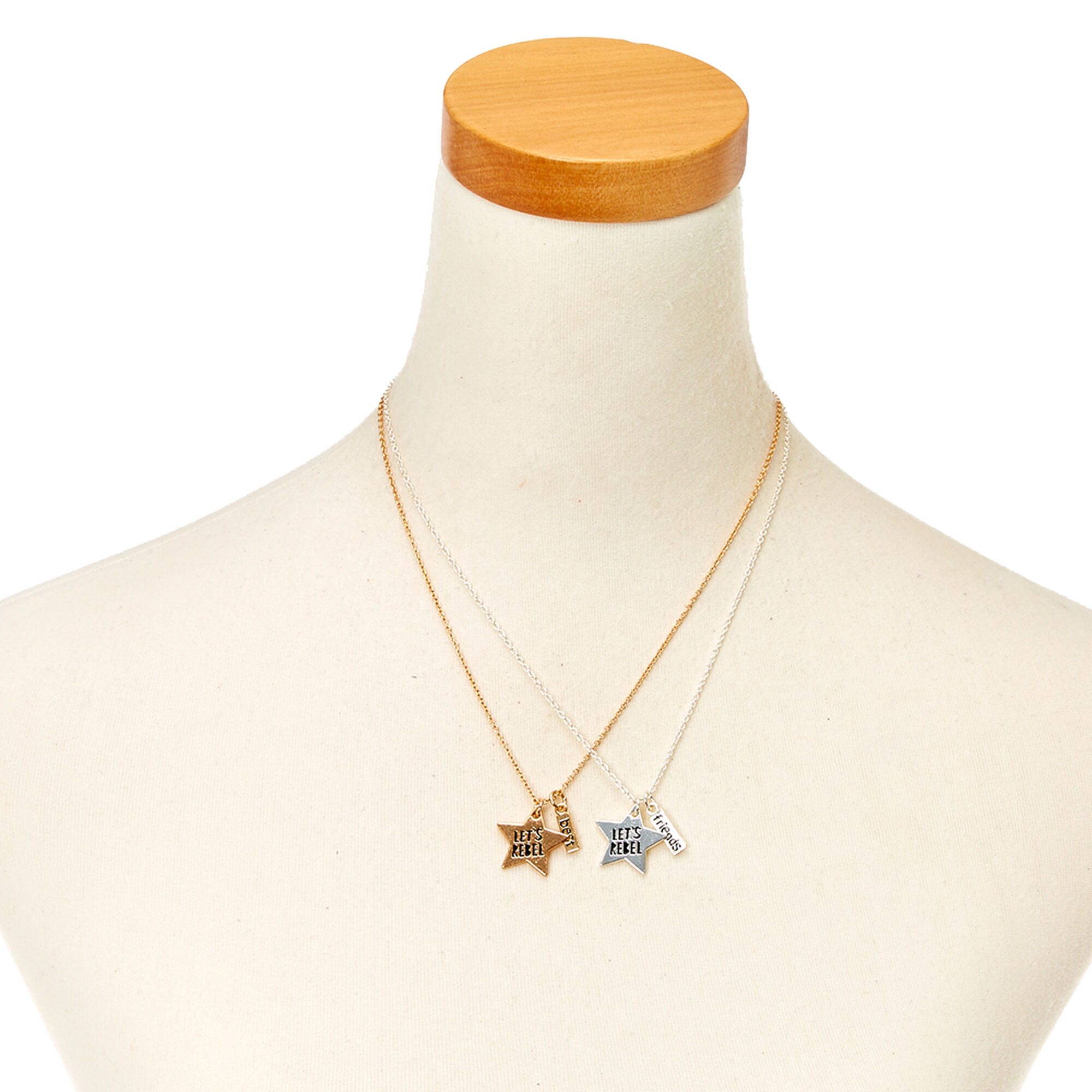 Best friends gold and silver lets rebel star pendant necklaces best friends gold and silver let39s rebel star pendant necklaces aloadofball Choice Image