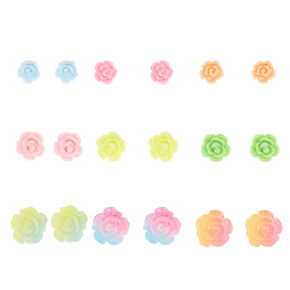 Glitter Pastel Rose Stud Earrings - 9 Pack,