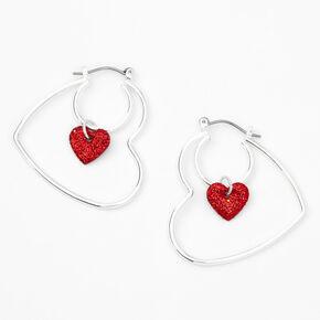 Silver Double Heart Hoop Earrings,