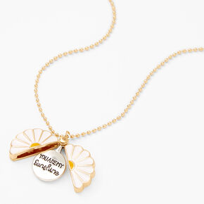 Daisy Hidden Message Locket Necklace - Gold,